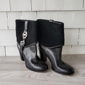 MICHAEL KORS black suede & leather ankle boots